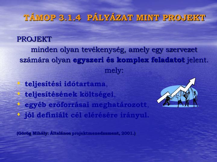 TÁMOP 3.1.4  PÁLYÁZAT MINT PROJEKT