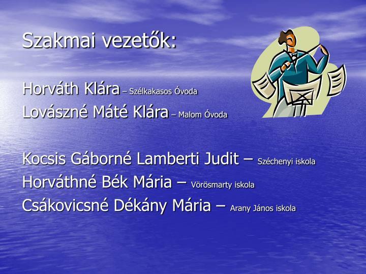 Szakmai vezetők: