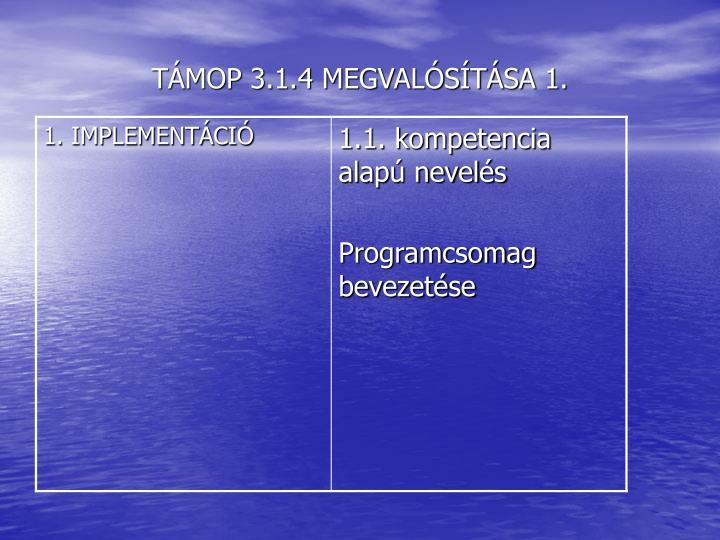 TÁMOP 3.1.4 MEGVALÓSÍTÁSA 1.