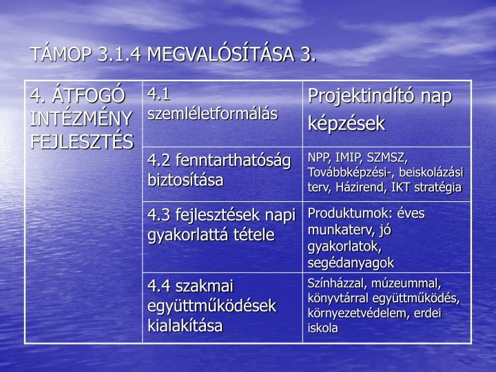 TÁMOP 3.1.4 MEGVALÓSÍTÁSA 3.