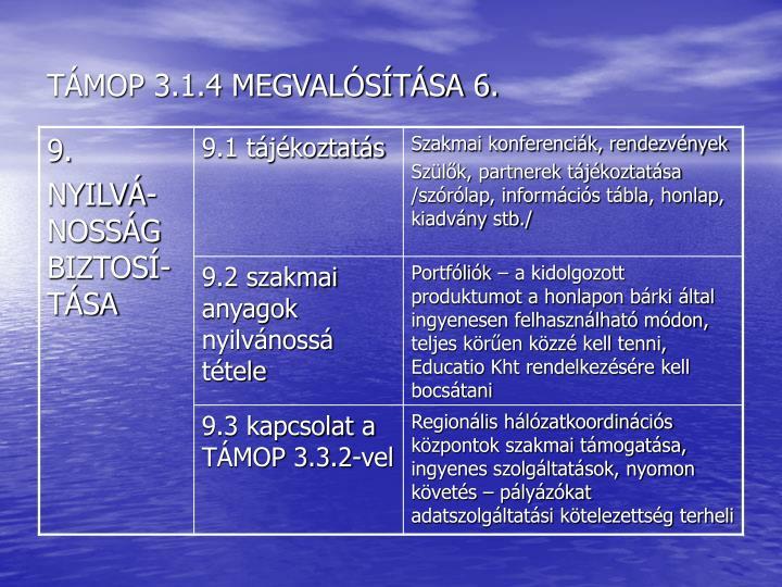 TÁMOP 3.1.4 MEGVALÓSÍTÁSA 6.