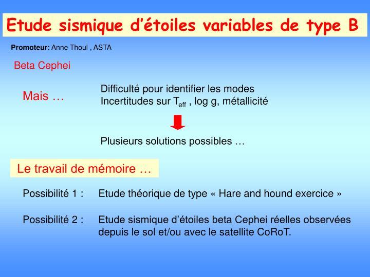 Etude sismique d'étoiles variables de type B