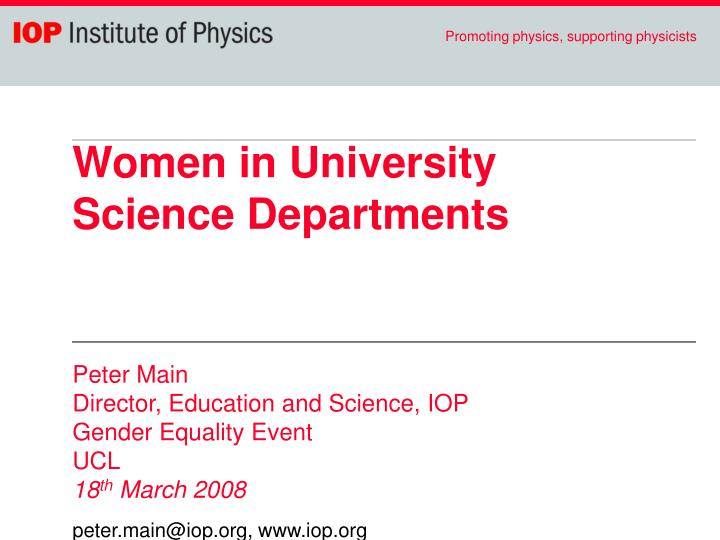 Women in University Science Departments