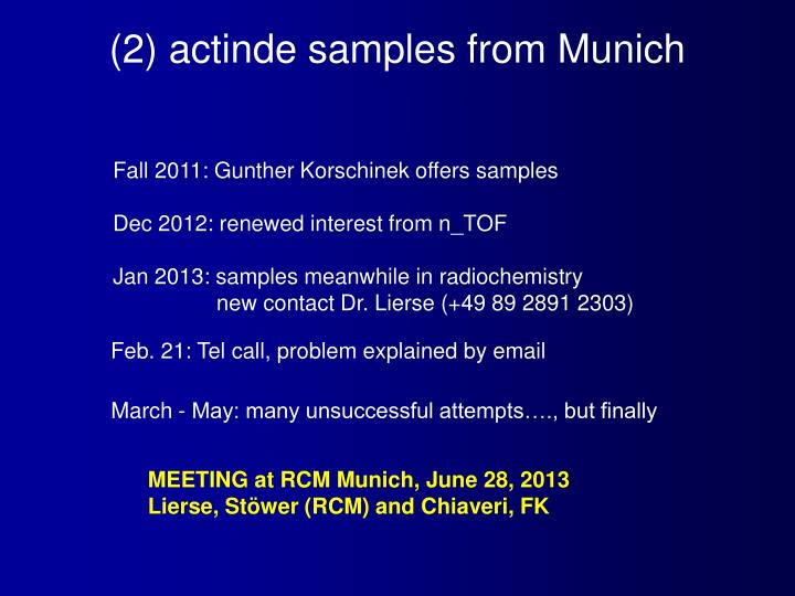 (2) actinde samples from Munich