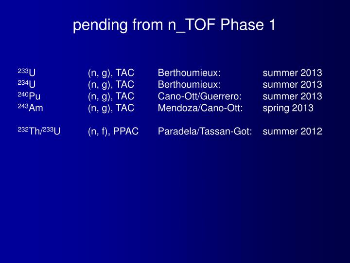 pending from n_TOF Phase 1