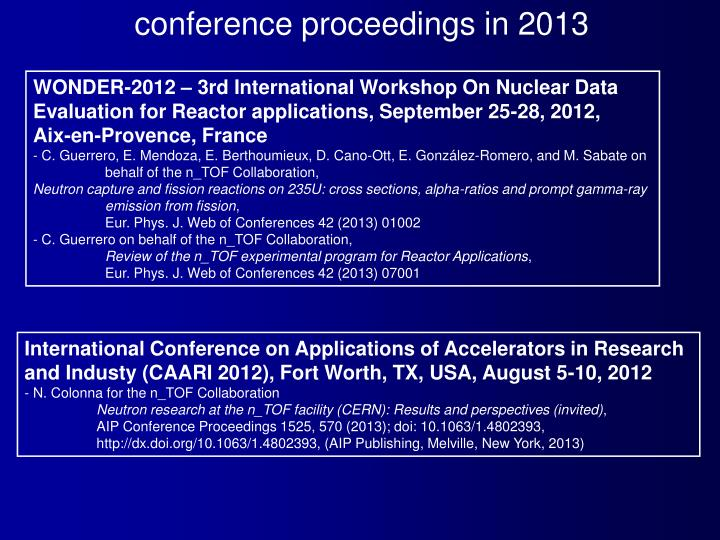 conference proceedings in 2013