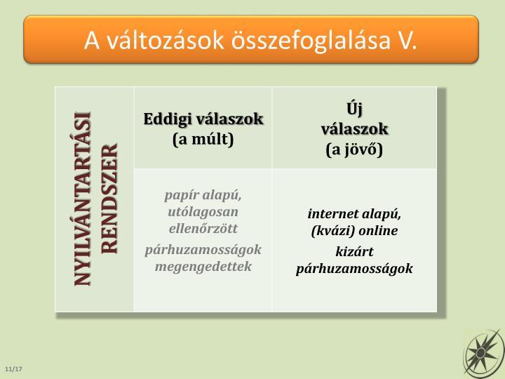 A változások összefoglalása V.