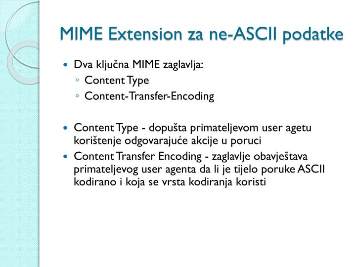 MIME Extension za ne-ASCII podatke