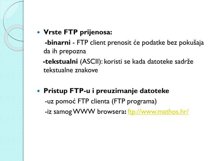 Vrste FTP prijenosa:
