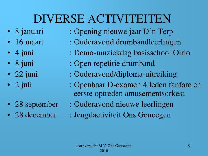DIVERSE ACTIVITEITEN