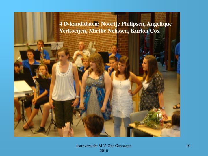 4 D-kandidaten: Noortje Philipsen, Angelique Verkoeijen, Mirthe Nelissen, Karlon Cox