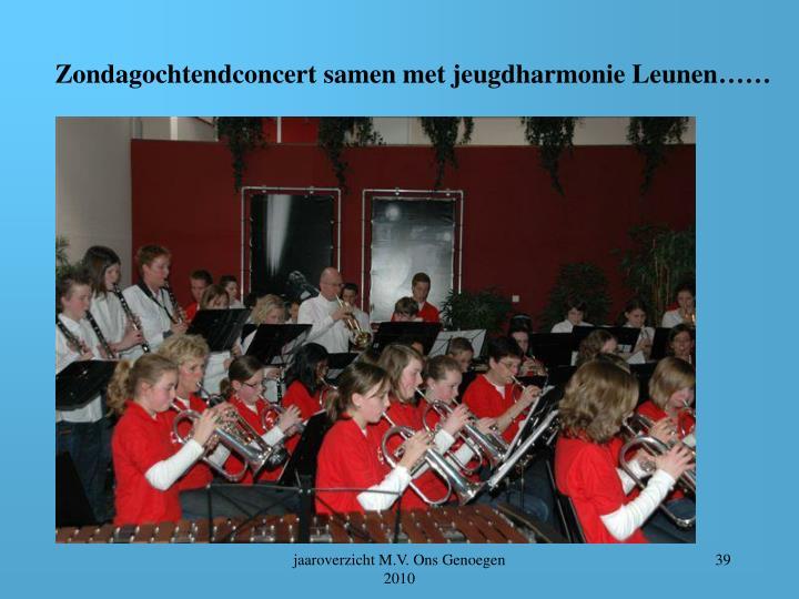 Zondagochtendconcert samen met jeugdharmonie Leunen……