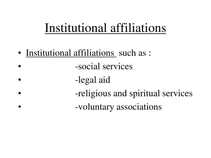 Institutional affiliations