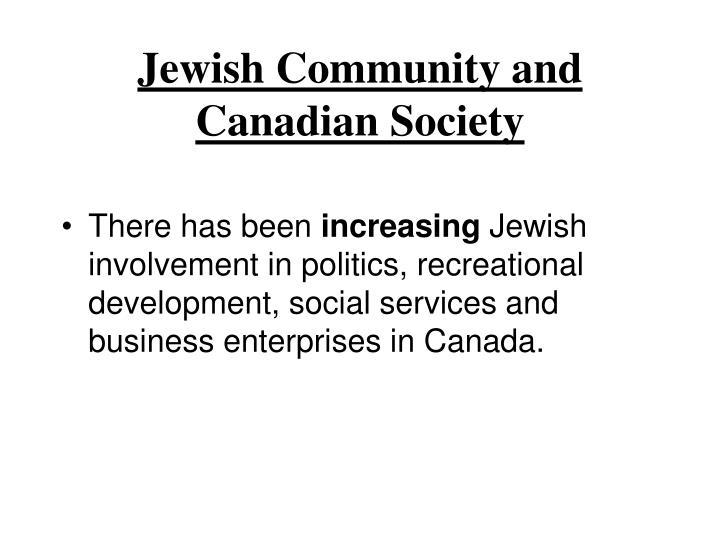 Jewish Community and Canadian Society