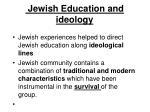 jewish education and ideology