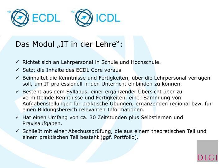 """Das Modul """"IT in der Lehre"""":"""