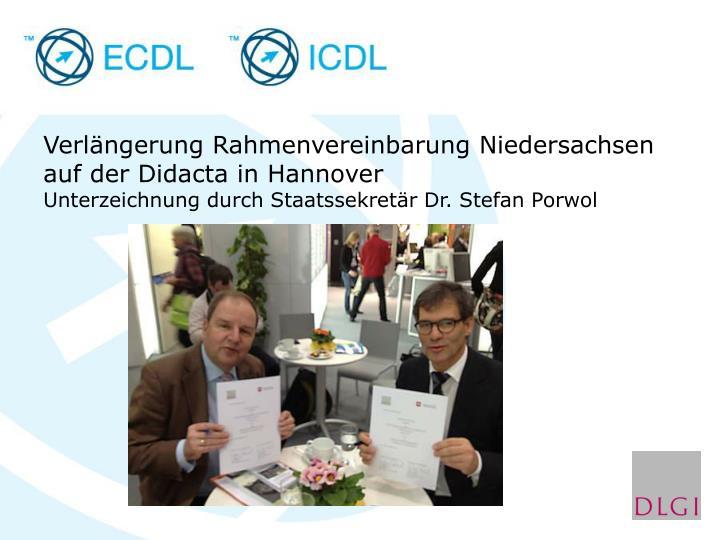 Verlängerung Rahmenvereinbarung Niedersachsen auf der Didacta in Hannover