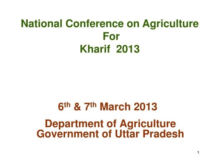 Department of agriculture government of uttar pradesh