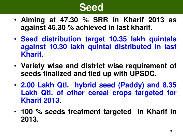 Aiming at 47.30 % SRR in Kharif 2013 as against 46.30 % achieved in last kharif.