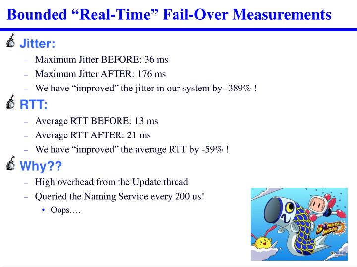 "Bounded ""Real-Time"" Fail-Over Measurements"