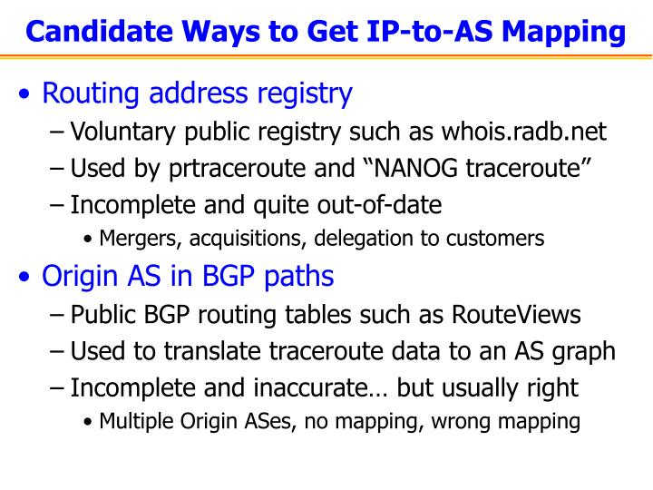Candidate Ways to Get IP-to-AS Mapping