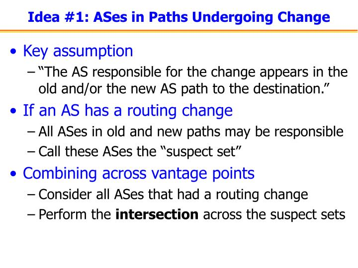 Idea #1: ASes in Paths Undergoing Change