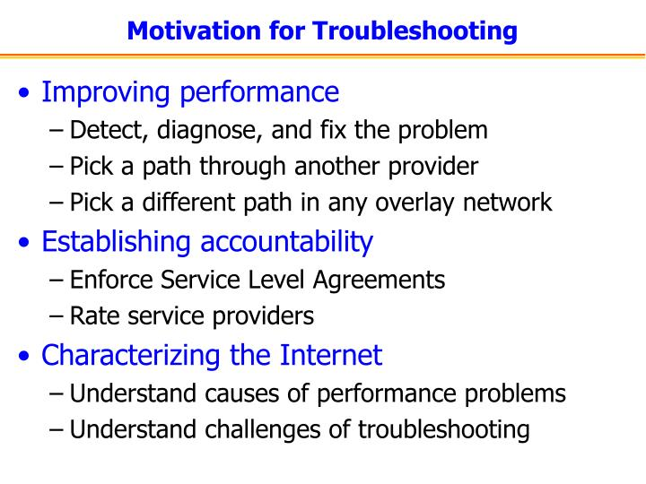Motivation for Troubleshooting