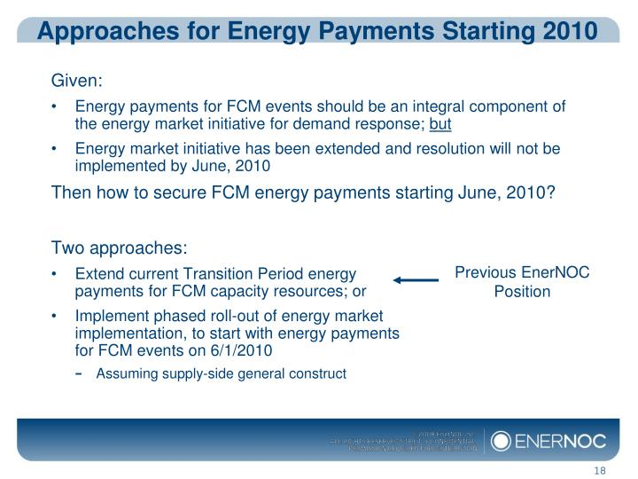 Approaches for Energy Payments Starting 2010