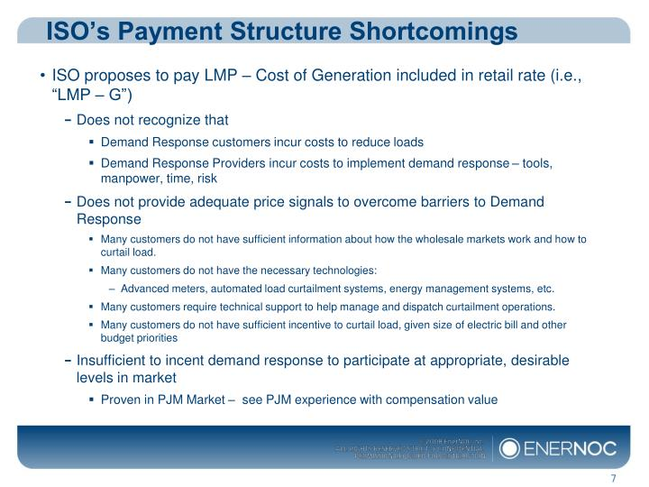 ISO's Payment Structure Shortcomings