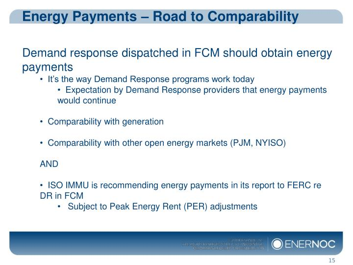 Energy Payments – Road to Comparability