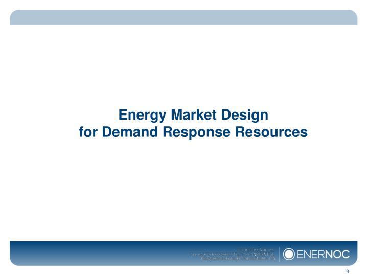 Energy Market Design