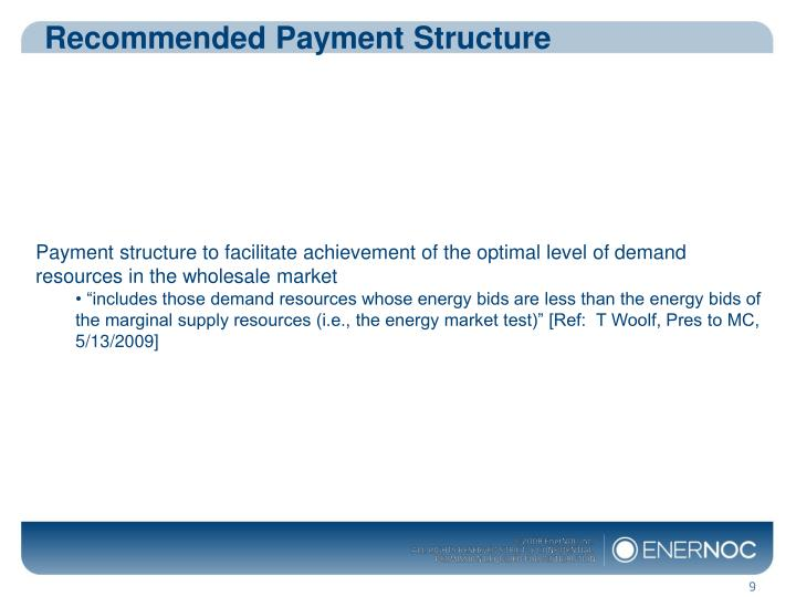 Recommended Payment Structure