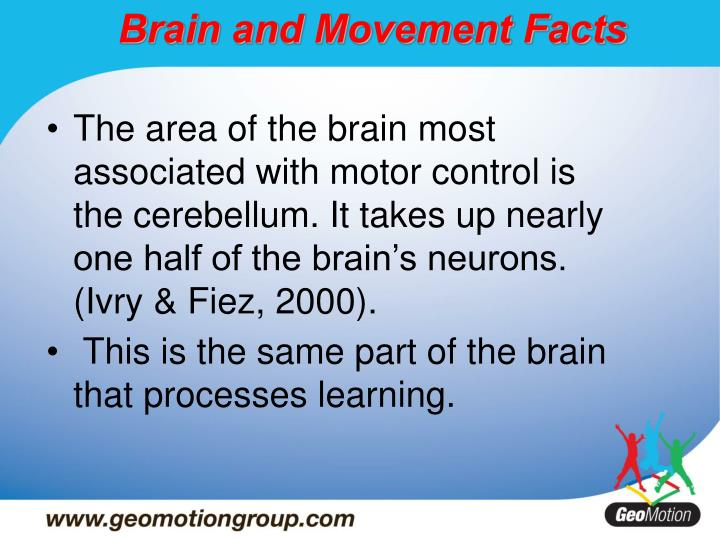 The area of the brain most associated with motor control is the cerebellum. It takes up nearly one half of the brain's neurons. (Ivry & Fiez, 2000).