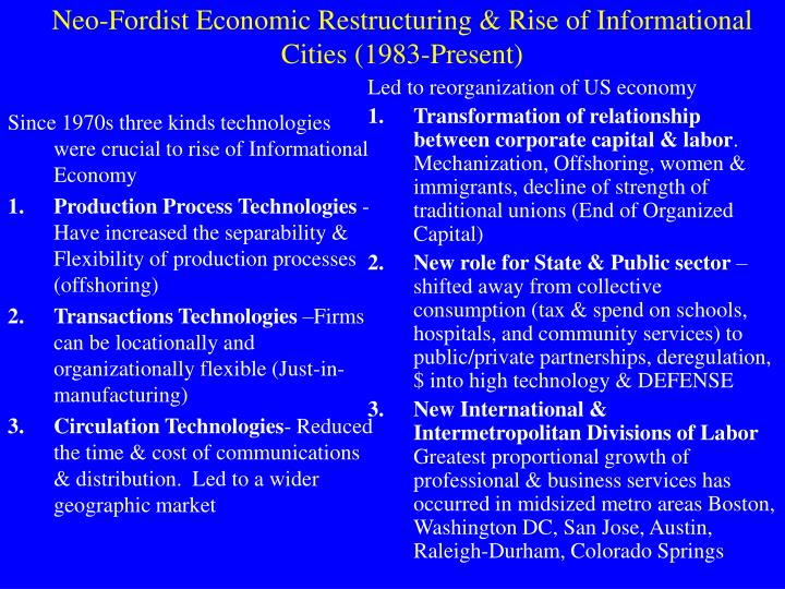 Since 1970s three kinds technologies were crucial to rise of Informational Economy