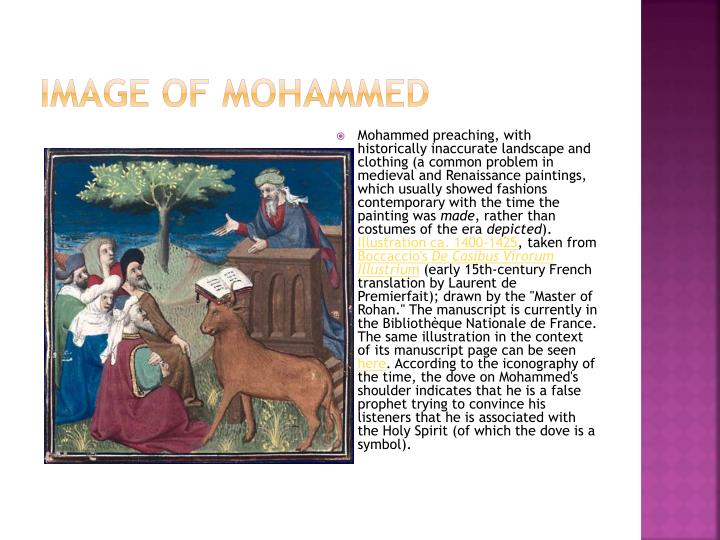 Mohammed preaching, with historically inaccurate landscape and clothing (a common problem in medieval and Renaissance paintings, which usually showed fashions contemporary with the time the painting was