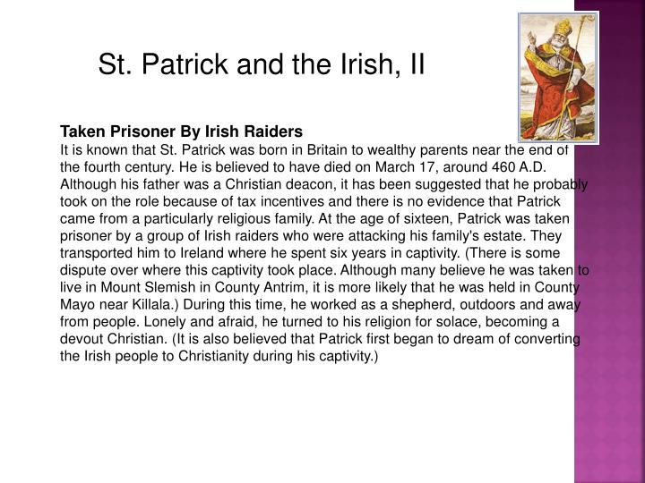 St. Patrick and the Irish, II