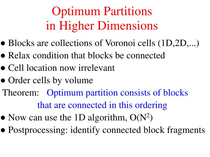 Optimum Partitions