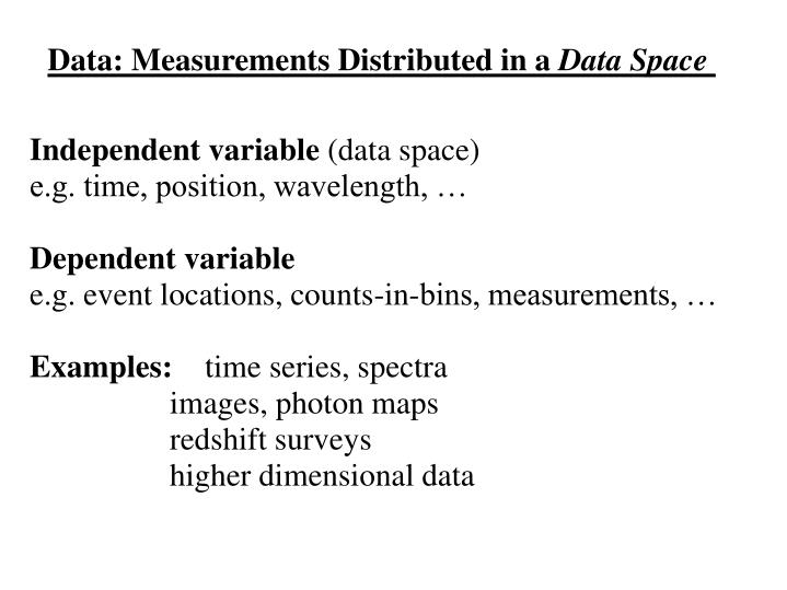 Data: Measurements Distributed in a