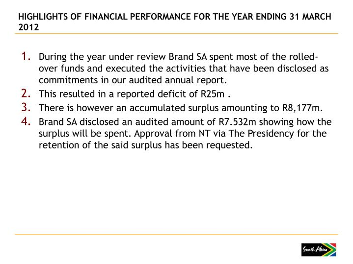 HIGHLIGHTS OF FINANCIAL PERFORMANCE FOR THE YEAR ENDING 31 MARCH 2012