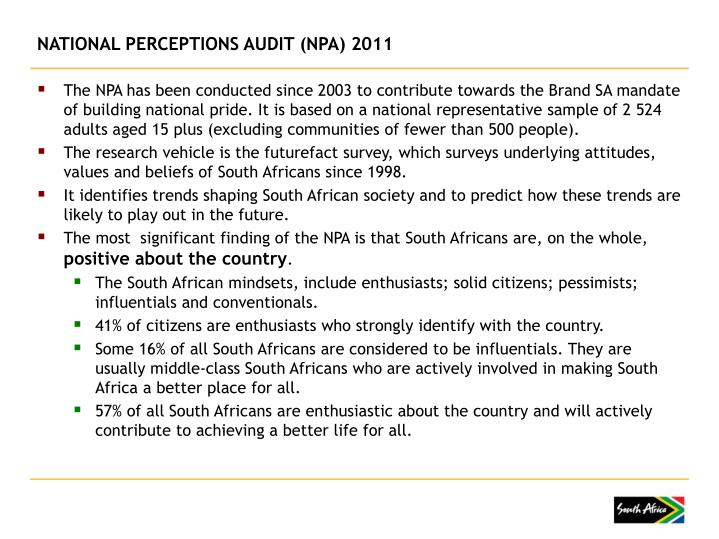 NATIONAL PERCEPTIONS AUDIT (NPA) 2011
