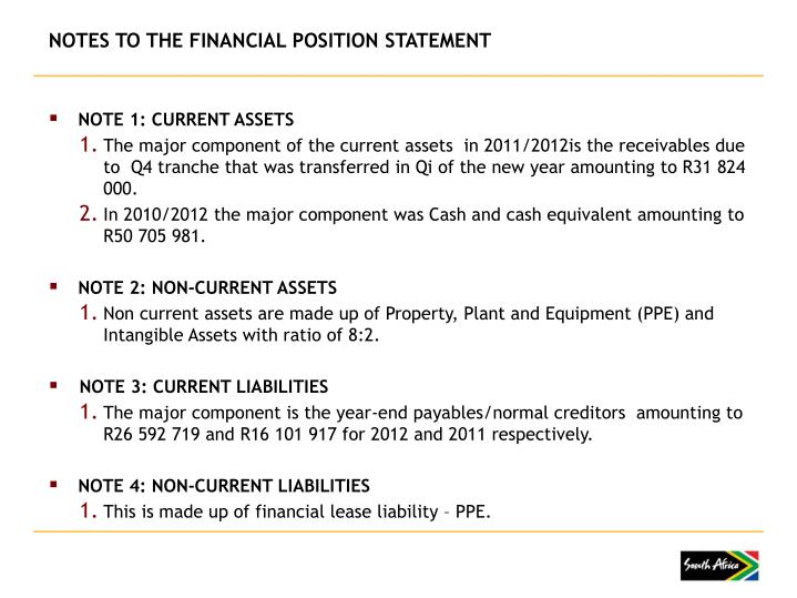 NOTES TO THE FINANCIAL POSITION STATEMENT
