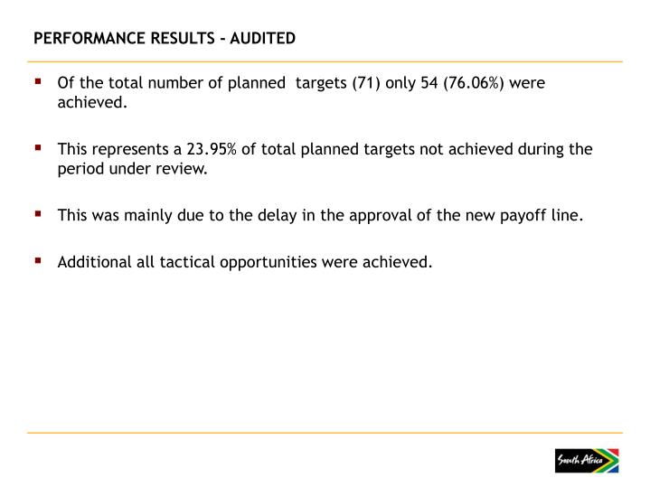 PERFORMANCE RESULTS - AUDITED