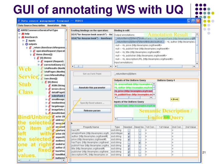 GUI of annotating WS with UQ