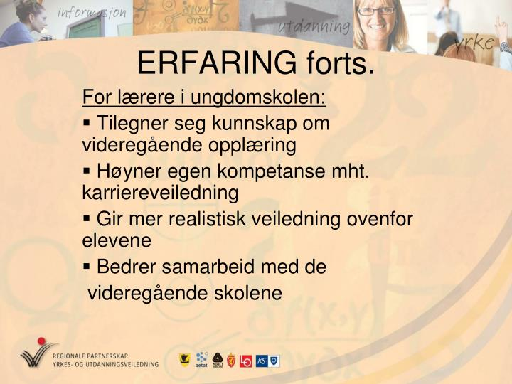 ERFARING forts.
