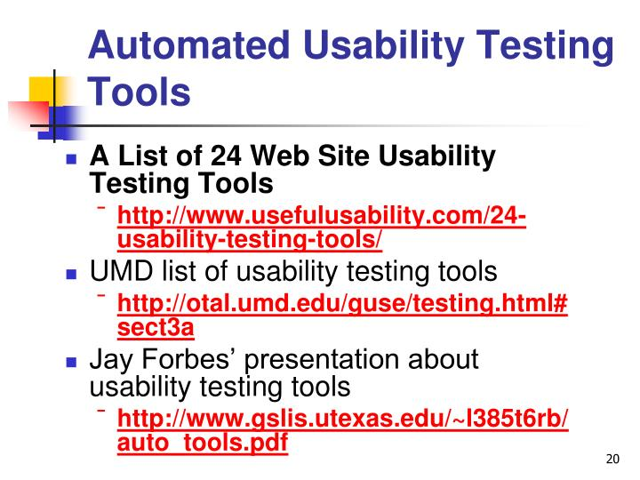 Automated Usability Testing Tools