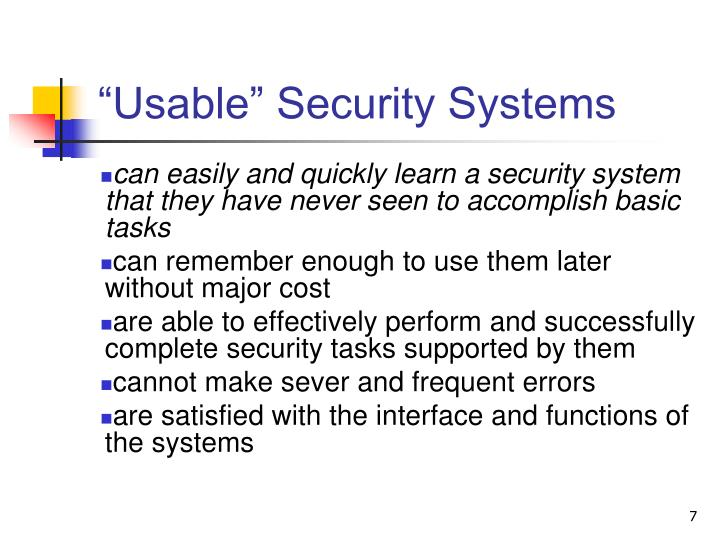 """Usable"" Security Systems"