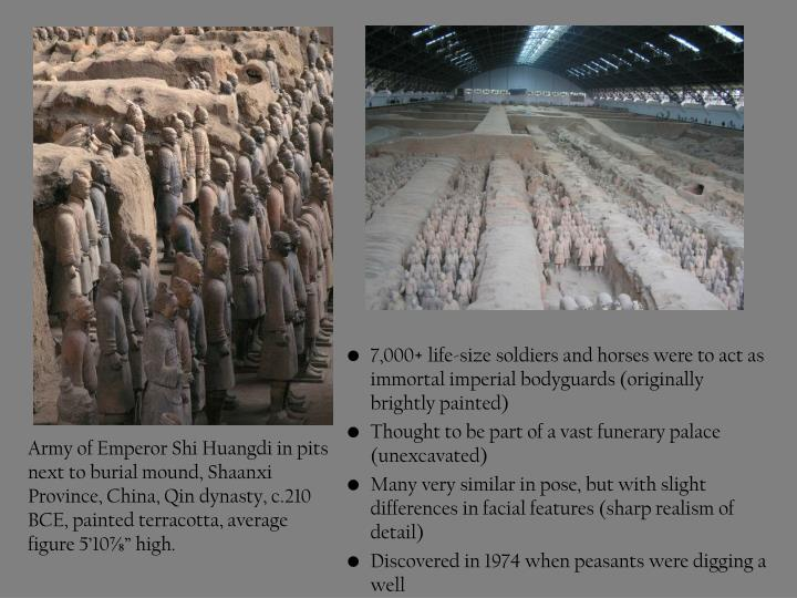 "Army of Emperor Shi Huangdi in pits next to burial mound, Shaanxi Province, China, Qin dynasty, c.210 BCE, painted terracotta, average figure 5'10⅞"" high."