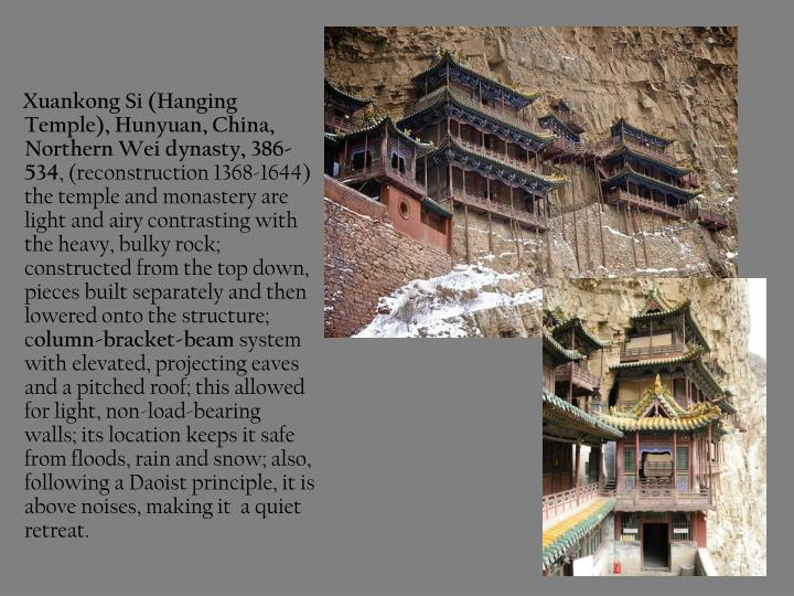 Xuankong Si (Hanging Temple), Hunyuan, China, Northern Wei dynasty, 386-534