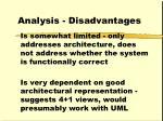 analysis disadvantages