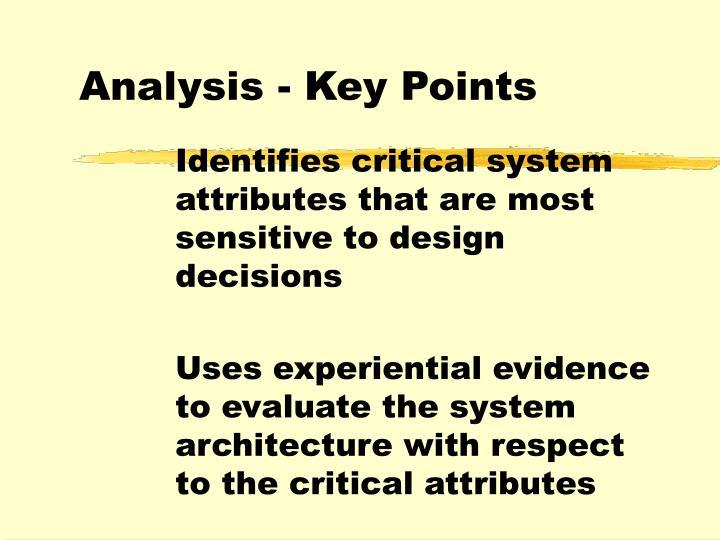 Analysis - Key Points